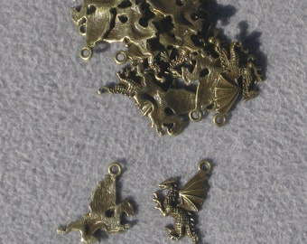 Brass Dragon Charm Pack of 10