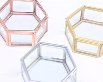 Small Hexagon Glass Box, Destash, Seconds, Rose Gold Glass Box, Gold Glass Box, Silver Glass Box, Glass Box, Hexagon Box, Mini Hexagon