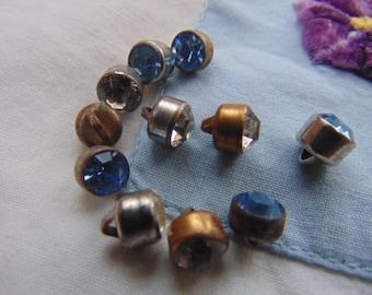 Eleven Tiny Single Set Rhinestone Buttons