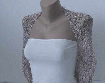 Knit Cappuccino Beige Bolero Shrug, Wedding Bolero, Shrug Jacket Sleeves, Different Sizes, Weddings Bridal Bridesmaid Women Elegant Cover Up