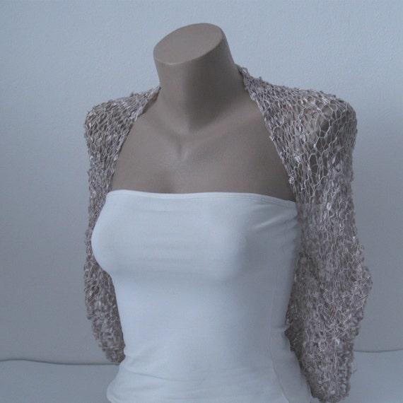 knit cappuccino beige bolero shrug wedding bolero shrug. Black Bedroom Furniture Sets. Home Design Ideas