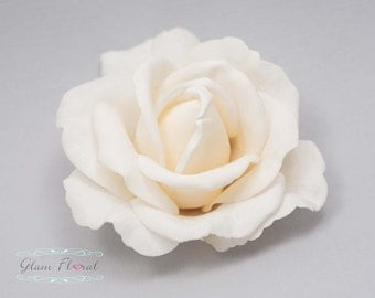 Ivory Rose Hair Clip/ Brooch. Wedding Hair Fascinator, Hair Piece, Head Piece, Real Touch Flowers. Prom. Caroline Rose Collection