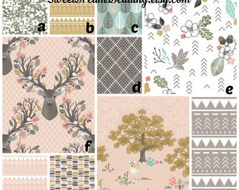 Custom Crib Bedding You Design Atumn Fawn Deer, Feathers,Floral, Trees