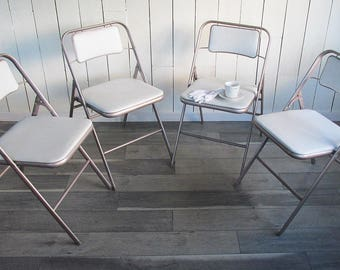 Set of 4 Mid Century Samsonite Folding Chairs - White and Beige, Style 6835