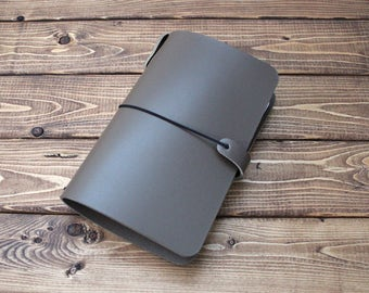 LEATHER JOURNAL COVER: Hold up to 4 notebooks - Dark Taupe - Midori - Moleskine - Field Notes - All sizes available - Free Personalization