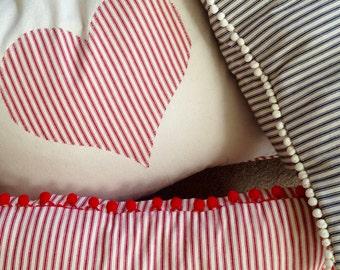 Ticking Stripe Pillow Striped Pillow Cover Blue Ticking Pillow Cover Ticking Stripe Pillow Cover