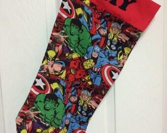Marvel - dead pool - spiderman - CHRISTMAS stocking - personalized stocking - comic stocking - marvel stocking - superhero stocking