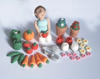 Personalised Handmade Edible Gardening Gardener flowers Cake Topper/Decoration