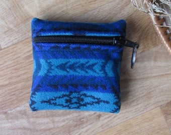 Medicine Bag, Keychain, Coin, Zipper Change Purse, Gift Card Holder Turquoise and Blue Southwest Leather Tassel or Beads 4 x 4
