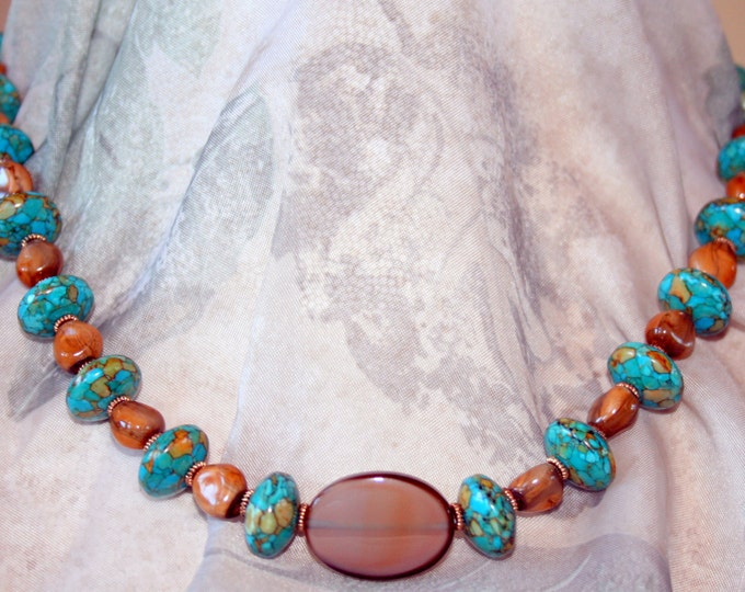 Carico Lake Turquoise with Montana Agate Pendant Necklace