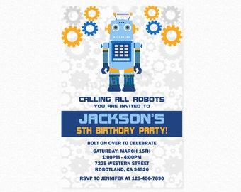 Robot Birthday Party Invitation, Robot Invites, Boy Robot, Robot Party, Blue, Orange, Gray, Printable
