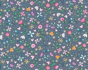 NEW Michael Miller Tweet Me Gray Bitty Blooms fabric - 1 yard
