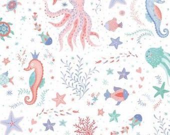 Studio E Mermaid Dreams White/Multi Sea Creatures Allover fabric - 1 yard