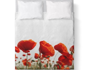 Poppies Red White Floral Duvet Cover/ Bedding/ Comforter Cover/ Twin, Queen, King/ Made To Order/ Poppies Red White, Floral