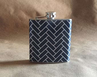Bridesmaids Gift Navy Blue and White Herringbone Print 6 ounce Stainless Steel bridesmaids Gift Flask