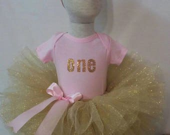 First Birthday Outfit- Pink and Gold First Birthday Outfit- Pink and Gold First Birthday Glitter Tutu Set- Pink Gold Birthday Tutu