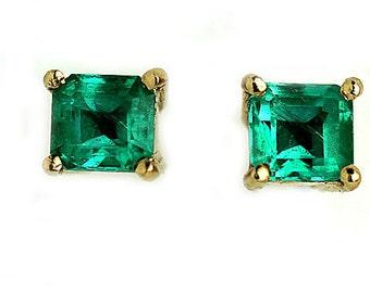 Emerald Earrings Vintage Natural Emerald Stud Earrings .80ctw Gemstone Earrings Vintage 1980's Emerald Green Earrings May Birthday!