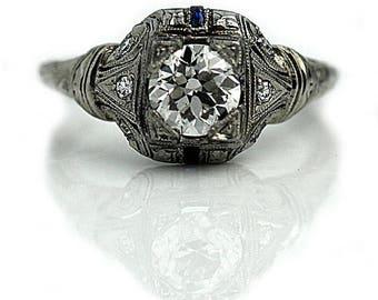 Art Deco Engagement Ring Filigree Engagement Ring 1.24ctw Antique Sapphire Diamond Ring 18K White Gold Vintage European Cut Diamond Ring!
