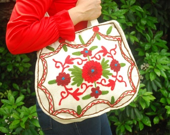 Vintage Embroidered Bag Boho 1970s Purse Red Embroidered Tote