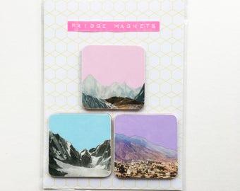 Square Wood Mountain Fridge Magnets - Coloured Mountains