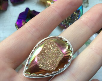 Sunset Aura Druzy Sterling Silver Ring - size 8