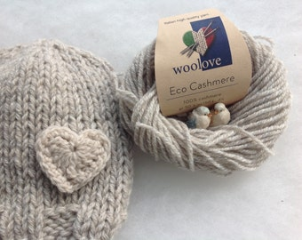 Eco Cashmere Beanie Baby hat with heart Knit Newborn hat cashmere 100% Made in Italy Newborn baby hat Photo prop Eco cashmere Handmade.