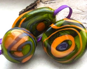 October Clementine - Handmade Lampwork Bead Set (3) by Anne Schelling, SRA