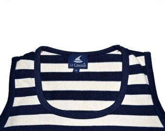 ON SALE Vintage LE Cabestan Simple Classic Sailing Cotton Size S Striped Tank Top French Navy Knit
