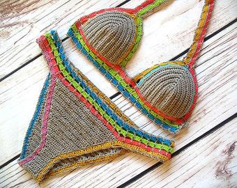Bikini swimwear, Handmade bikini, Multicolor Bikini, Crochet trim bikini, Crochet swimsuit, Crochet bathing suit, Hippie bikini