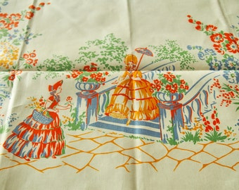 Southern Belle Vintage Tablecloth Unused Doultonian England Country Garden 44 x 44