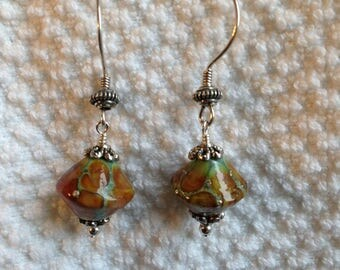 Reddish Brown and Silver Lampwork
