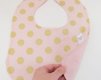 Pink and Gold Dot Baby Bib, Baby Snap Bib, Cotton Snap Bib, Girl Baby Gift, Pink Baby Gift, Baby Gift under 15, Girly Baby Gift