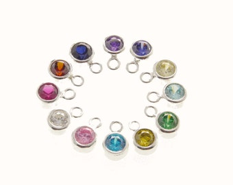 Set of 12 Birthstone Charms, sterling silver bezel, CZ birthstones, birthstones in bezel, sterling bezel, stone charms
