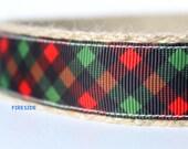 """Christmas Dog Collar, Adjustable Dog Collar, 1"""" wide Dog Collar, Black and Red Dog Collar, Festive Collar"""