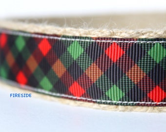 "Plaid Dog Collar, Adjustable Dog Collar, 1"" wide Dog Collar, Black and Red Dog Collar, Dog Collar"