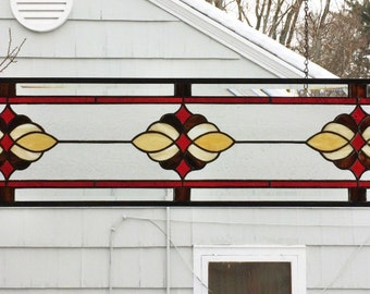 "Traditional Cluster Transom - 8"" x  40""--Stained Glass Panel"