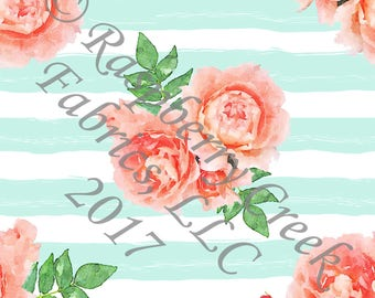 Mint Coral and Green Stripe and Watercolor Floral 4 Way Stretch FRENCH TERRY Knit Fabric, By Gwyneth LaSpina for Club Fabrics