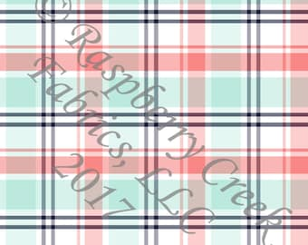 Coral Mint Navy and White Plaid 4 Way Stretch Jersey Knit Fabric, By Gwyneth LaSpina for Club Fabrics, PRE-ORDER