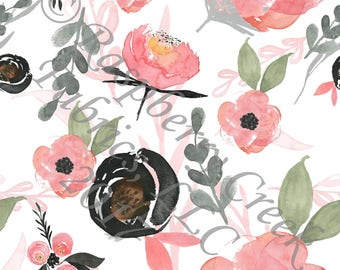 Salmon Black and Green Watercolor Floral 4 Way Stretch FRENCH TERRY Knit Fabric, Club Fabrics