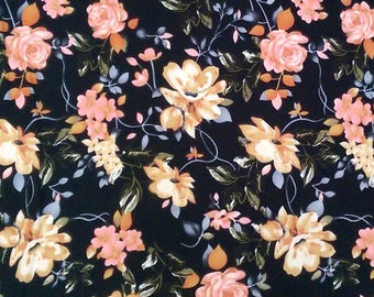 Black Peach Blue and Cream Floral Brushed Poly Spandex Knit, 1 Yard