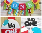 The Big One Fishing Birthday Package Sign The Big ONE Highchair banner Bobber Fish Theme Decor Bright colors Little Fisherman Smash cake