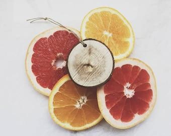 Citrus Scent Diffuser / Grapefruit Lemon Lime Orange / Wood Slice / Air Freshener / Car Scent / Essential Oil Aromatherapy / Little Luxuries