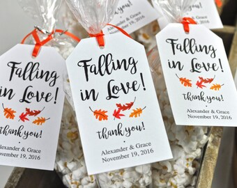 Bridal Shower Favor Tags, Wedding Favors, Falling In Love Favor Tags, Thank You Tags, Party Favors, Personalized Favors - Set of 12