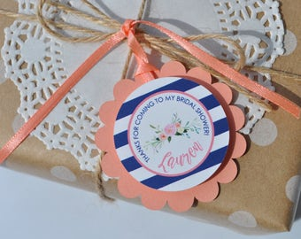 Bridal Shower Favor Tags, Wedding Thank You Tags, Bridal Shower Favors, Bachelorette, Personalized Favor Tags, CORAL & NAVY BLUE - Set of 12