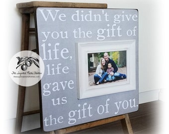 Adoption Gift, Adoption Art, We Didn't Give You The Gift Of Life, Personalized Picture Frame, Baby Shower 16x16 The Sugared Plums