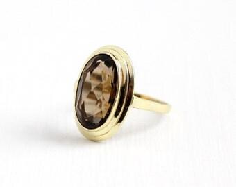 Vintage 14k 585 Yellow Gold Large Smoky Quartz Ring - Size 9 Open Metal Work Filigree 1960s Brown Gemstone Retro Statement Fine Jewelry