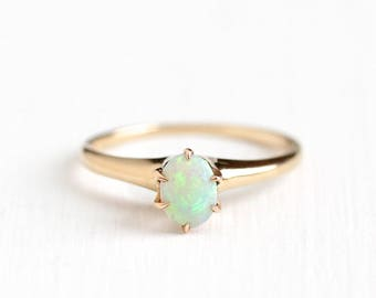 Vintage 14k Rosy Yellow Gold Opal Ring - Size 5 1/2 1940s Art Deco October Birthstone Gemstone Fine Solitaire JR Wood Jewelry