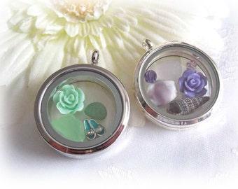 Beach Glass Memory Locket Necklace