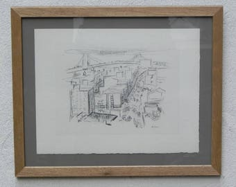 NY Cityscape with Bridge Drawing in Pencil John Marin Limited Print Newly Framed