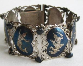 Vintage Niello Siam Sterling Silver Thai Dancers Wide Panel Link Exotic Bracelet